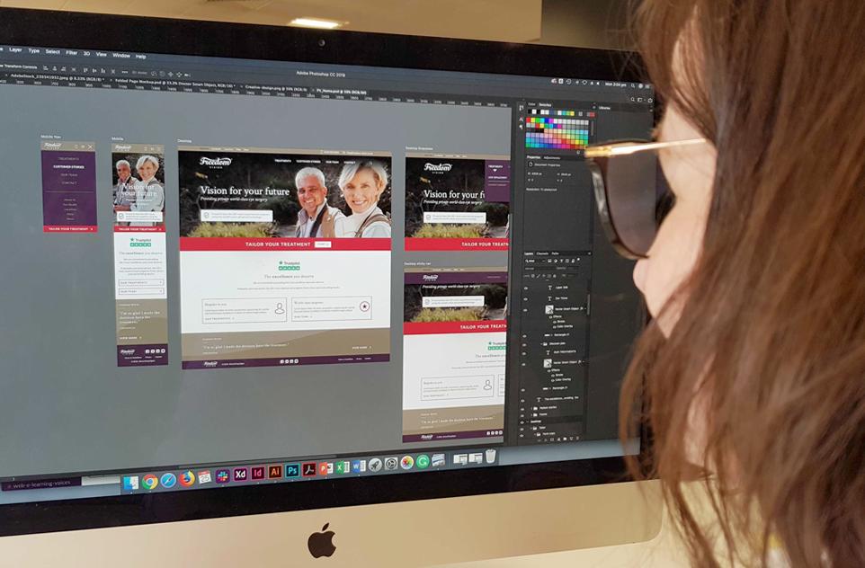 Creative-website on screen