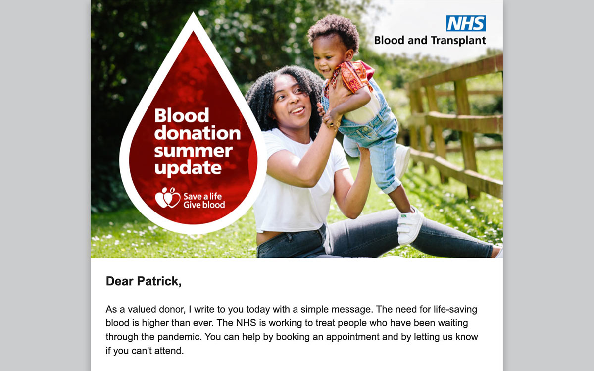 Give Blood Email